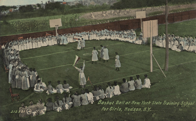 vintage postcard New York State Training School for Girls in Hudson; girls playing basketball