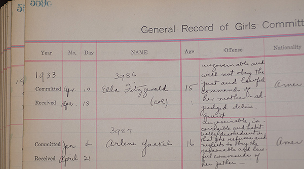 Ella Fitzgerald logbook entry from the Girls Training School in Hudson